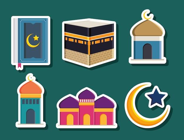 Disegno della collezione di icone hajj islamico