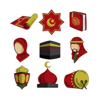 Illustrazione rosso-giallo delle icone islamiche