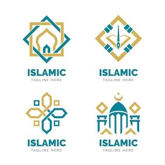 Concetto di raccolta logo islamico Vettore Premium