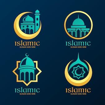 Collezione di logo islamico con moschea