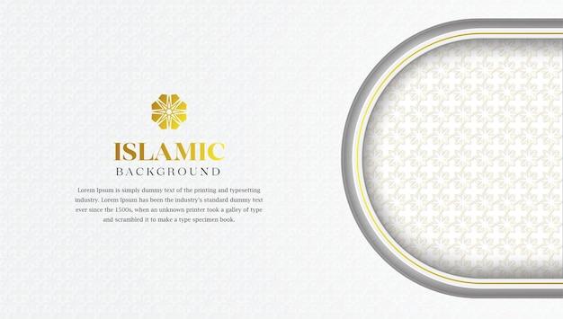 Sfondo di lusso islamico con motivo arabo o illustrazione di ornamento decorativo con cornice di confine