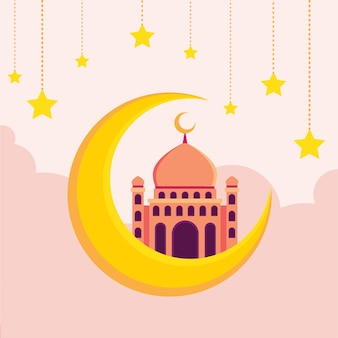 Moschea islamica con mezza luna e cielo pieno di stelle illustrazione piatta hari raya aidilfitri