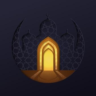 Moschea islamica con sfondo geometrico della luna e porta della moschea d'oro