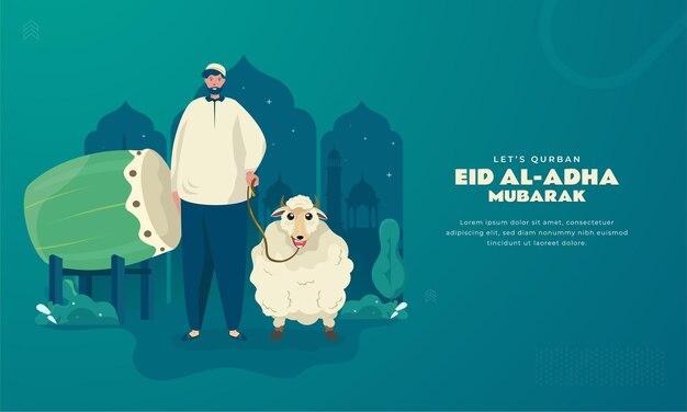 Personaggio musulmano islamico con pecore per il concetto di saluti eid al adhaha