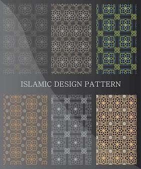Modelli senza cuciture ornamentali islamici. raccolta di motivi geometrici in stile orientale. pattern aggiunti al pannello dei campioni.