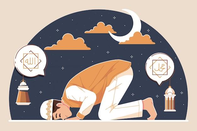 Persone islamiche che pregano lo sfondo dell'illustrazione