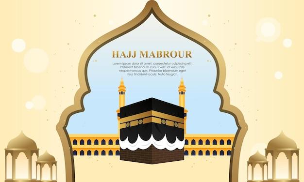 Pellegrinaggio islamico con kaaba per hajj mabroor