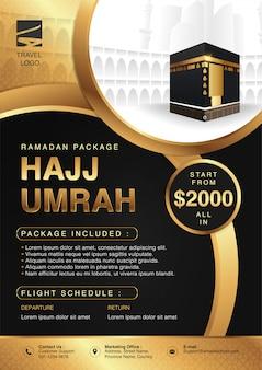 Ramadan hajj islamico & umrah brochure o flyer template design background con le mani in preghiera e la mecca illustrazione in 3d design realistico.