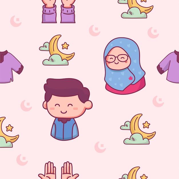 Il modello senza cuciture islamico prega sull'illustrazione disegnata a mano del ramadhan