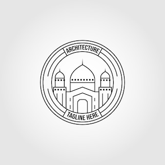 Simbolo islamico logo linea arte illustrazione vettoriale design