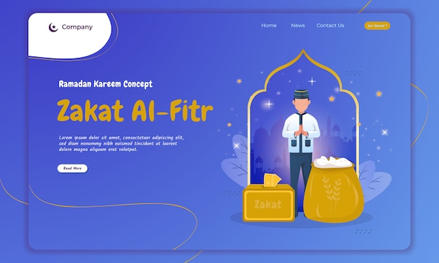Concetto di tradizione islamica di zakat al-fitr sulla landing page