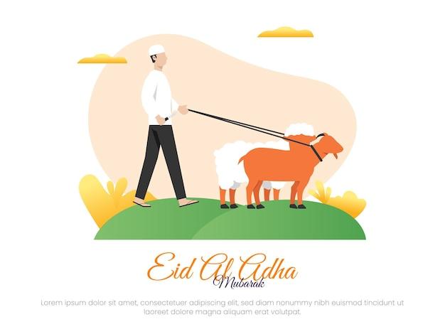 Concetto di illustrazione vettoriale islamico per la celebrazione o il sacrificio di eid aladha con un uomo che tiene un coltello per macellare pecore e capre