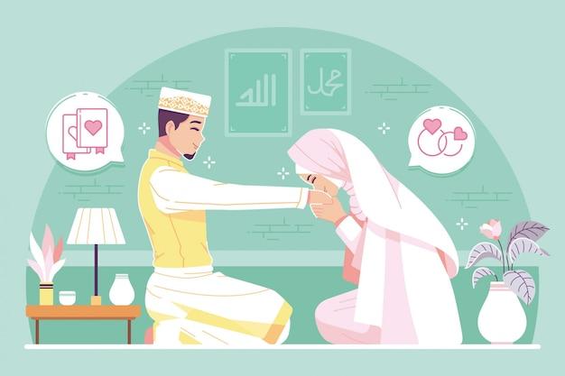 Illustrazione del personaggio dei cartoni animati di matrimonio islamico