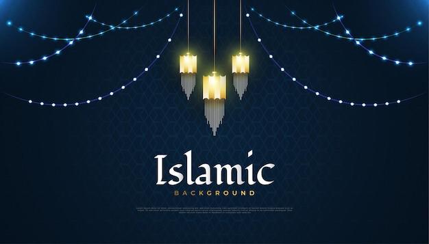 Islamico con lanterne arabe d'oro, luci incandescenti