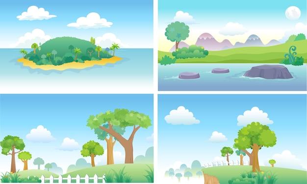 Cartone animato sfondo isola
