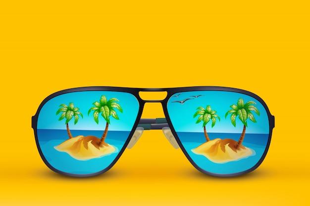 Vetri di sole dell'isola su giallo