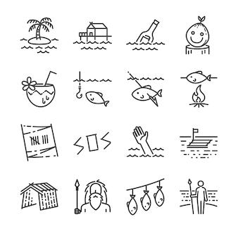 Set di icone di sopravvivenza isola linea.