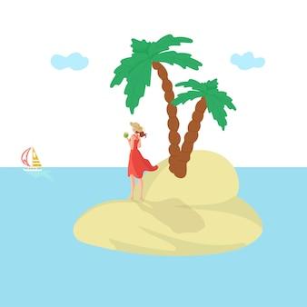 Donna dell'isola, vacanze estive, sole, attraente vacanza al mare, viaggio dedicato alle vacanze, illustrazione. divertimento estivo, bellezza esotica, stile di vita turistico, resort glamour.