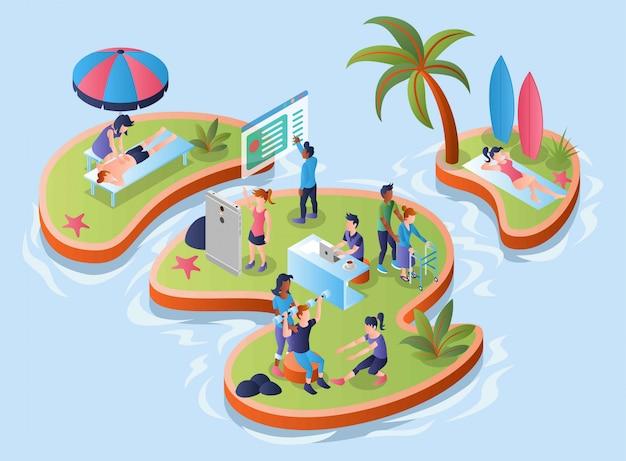 Isole con attività di salute persone su di esso, illustrazione isometrica