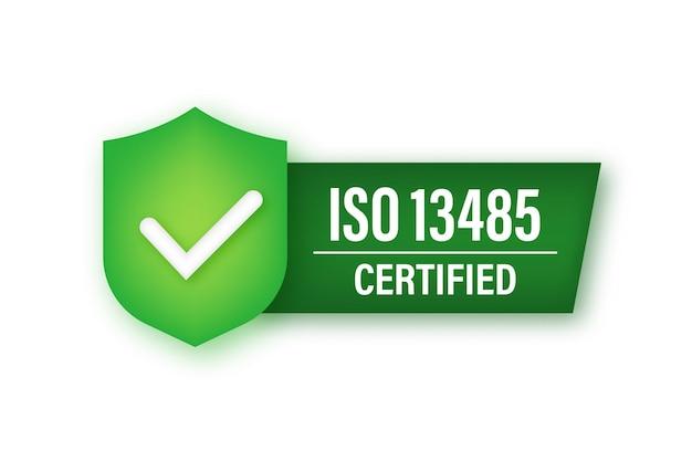 Icona al neon con badge certificato iso 13485. timbro di certificazione. illustrazione di riserva di vettore.
