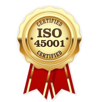 Medaglia certificata iso 45001 standard con nastro rosso