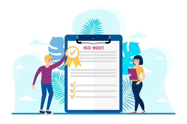Certificazione iso 9001 con personaggi femminili e maschili