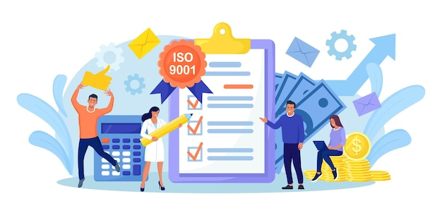 Sistema di gestione della qualità iso 9001 e certificazione internazionale. minuscoli uomini d'affari hanno superato il controllo di qualità standard. industria della standardizzazione dei documenti
