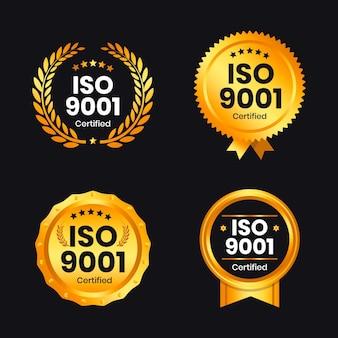 Collezione di badge di certificazione iso