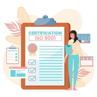 Illustrazione di certificazione iso con donna e blocco note