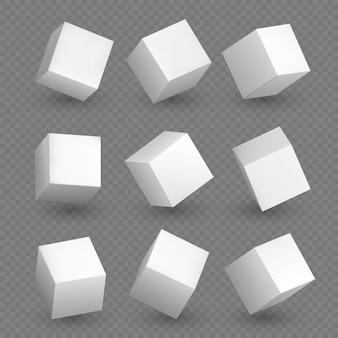 Cubicoli 3d isolati. cubi geometrici bianchi o forme di scatola di blocco con set di ombre vettoriali