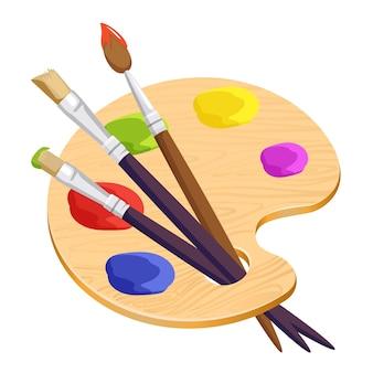 Tavolozza di artista isolato con tre lunghi pennelli diversi all'interno su bianco. illustrazione di cartone animato cosa in legno con macchie rotonde colorate di vernici. set per la creazione di immagini e ritratti