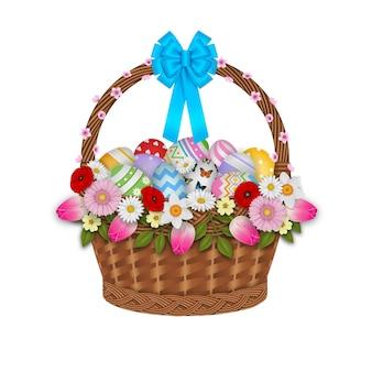 Cestino isolato con le uova di pasqua e l'illustrazione dei fiori
