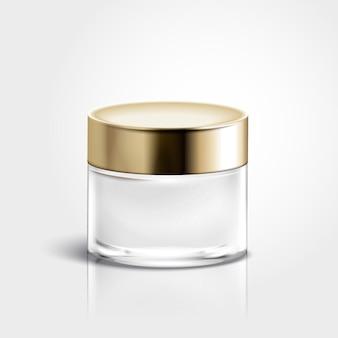 Vaso crema vuoto isolato nell'illustrazione 3d, cura della pelle per usi di progettazione