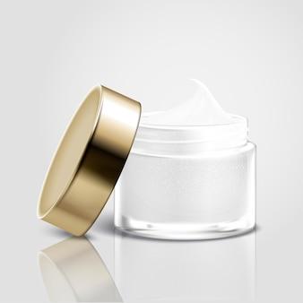 Vaso crema coperchio aperto vuoto isolato nell'illustrazione 3d, cura della pelle per usi di design