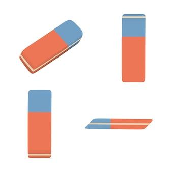 Gomma blu e rossa isolata. articolo per ufficio e scuola. accessorio di ritorno a scuola.