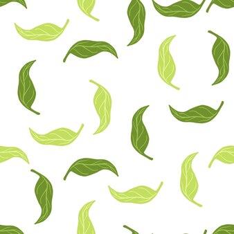 Modello senza cuciture botanico isolato con elementi di foglie di mandarino verde
