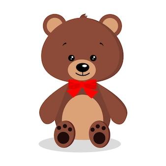 Cartone animato isolato simpatico, dolce, romantico e festoso orsacchiotto marrone.