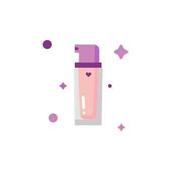 Collezione di set di icone per il trucco della bottiglia di fondazione carina isolata