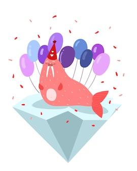 Tricheco rosa carino isolato su un lastrone di ghiaccio in un cappello con palloncini