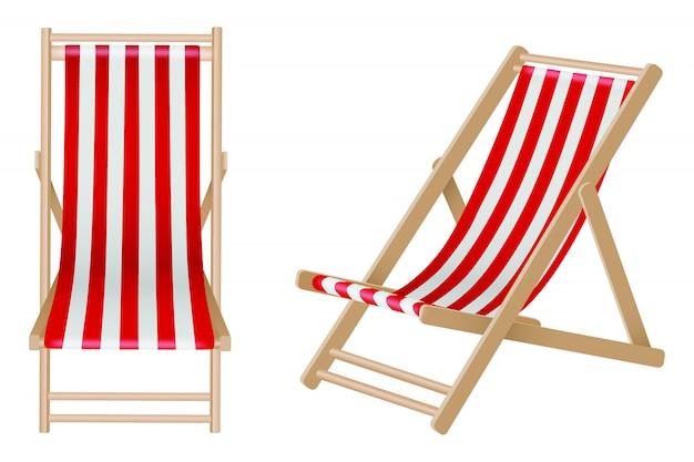 Sdraio isolato su fondo bianco. sedie a sdraio in legno con strisce bianche e rosse