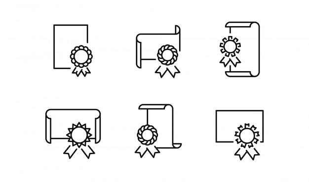 Simbolo isolato dell'icona del diploma su pulito