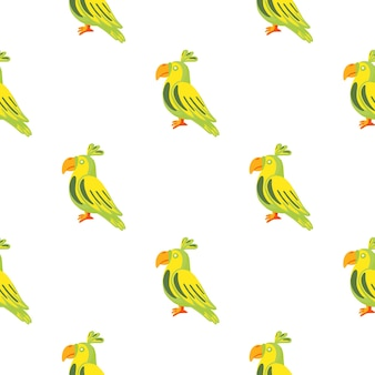 Reticolo senza giunte di doodle isolato con ornamento di uccelli pappagalli verdi e gialli. sfondo bianco. perfetto per il design del tessuto, la stampa tessile, il confezionamento, la copertura. illustrazione vettoriale.