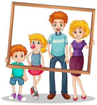 Immagine di famiglia isolata con illustrazione della cornice della foto
