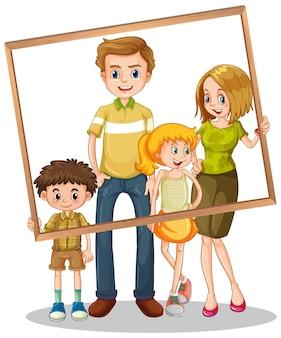 Foto di famiglia isolata con cornice per foto