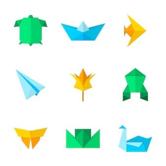Origami piatti isolati per decorativi. ornamento geometrico orientale