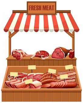 Stallo di carne fresca isolato
