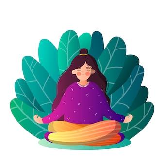 Ragazza isolata nella posa di yoga nelle foglie in stile cartone animato