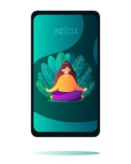 Ragazza isolata nella posa di yoga nelle foglie in stile piatto sullo schermo del telefono i