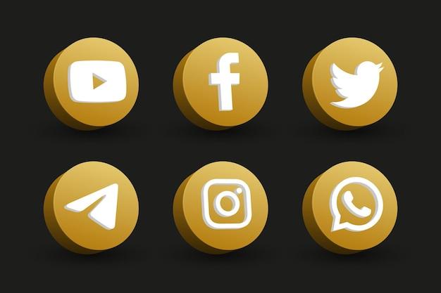 Collezione di icone logo social media vista prospettiva cerchio dorato isolato sul nero