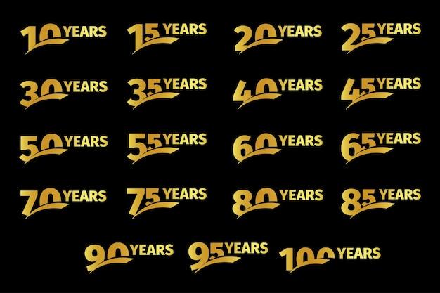 Numeri di colore dorato isolato con raccolta di icone di anni di parola su sfondo nero compleanno
